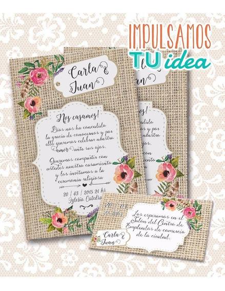 Invitación De Boda Para Imprimir - Tarjeta Y Personal C Y J