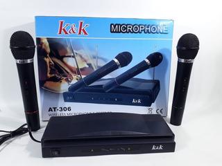 Set De Microfonos Dobles Inalambricos Profesionales At-306