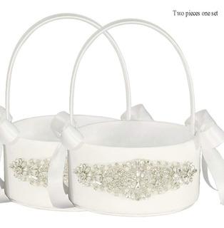 Canasta Para Boda Color Blanco Set 2pzs Elegante Lapuda