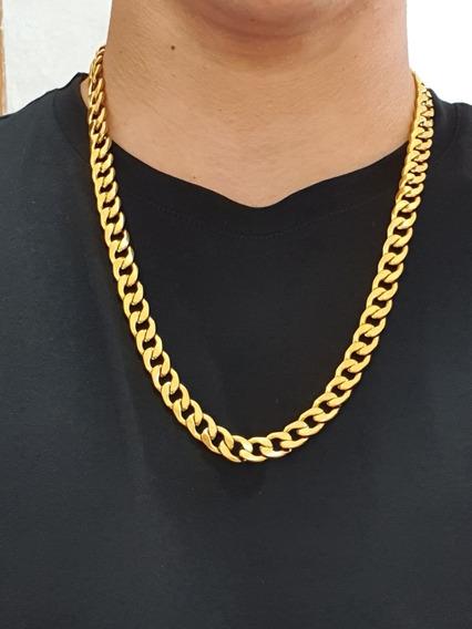 Colar Dourado 60cm Masculino 1x1 Grossa Aço Inoxidável Top