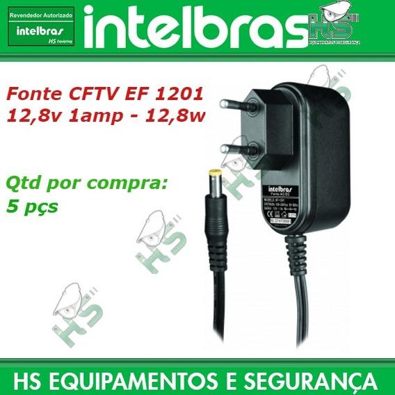 5 Fonte 12v 1amp Cftv Prot Anti-surto Mod Ef1201 Intelbras