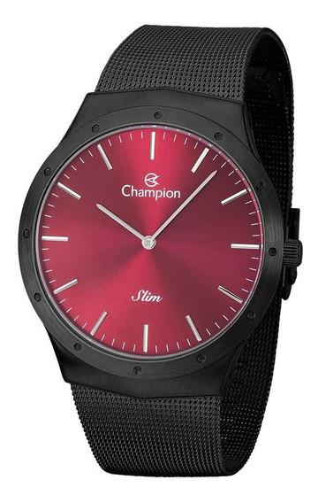 Relógio Champion Masculino Ref: Ca21811v Slim Mesh Black