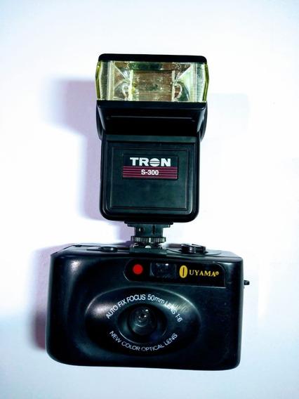 Antiga Câmera Máquina Fotográfica Ouyama Com Flash Tron S-30
