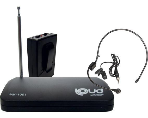 Microfone S/fio Wm-1001 Auricular/lapela Loud-bivolt