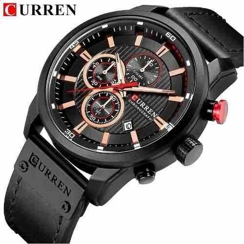 Relógio Luxo Cronógrafo Funcional Pulseira De Couro Curren