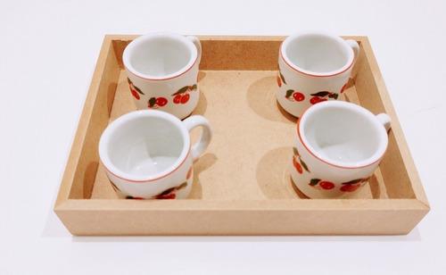 Imagem 1 de 7 de Kit 10 Bandejas 20x20x3,5 Café Em Mdf De 6mm + Brinde