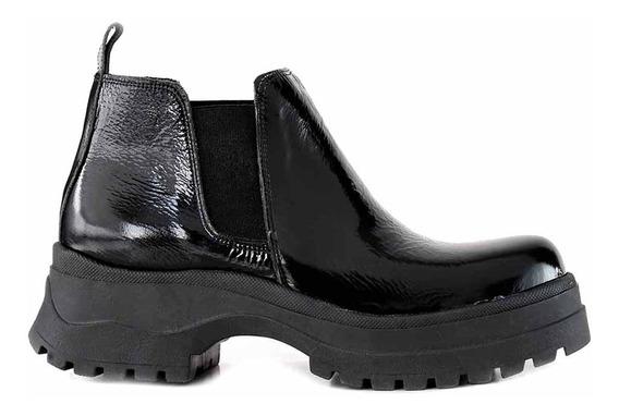 Bota Charol Mujer Plataforma Briganti Zapatos Goma Mcbo24987