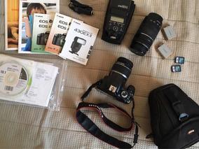 Câmera Canon 450d + 2 Lentes + Flash Sppedlite 430 Exll + 3b