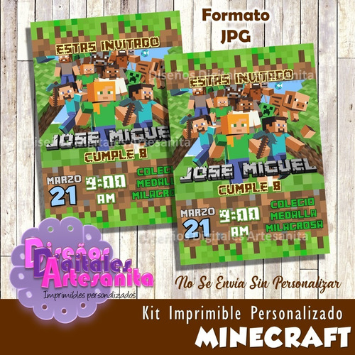 Kit Imprimible Minecraft Personalizado