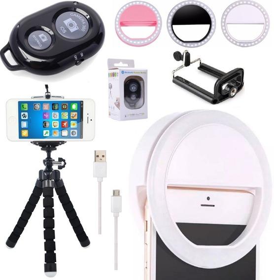 Kit Youtuber Tripé Celular Luz Ring Light Flash + Bluetooth