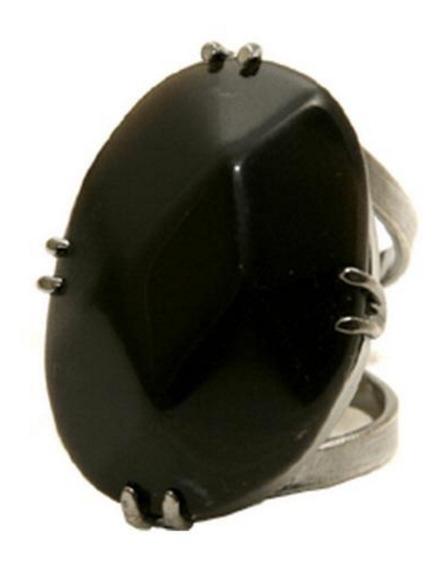 Regulavel Anel Natural - Obsidiana Preta-banho Prata 30