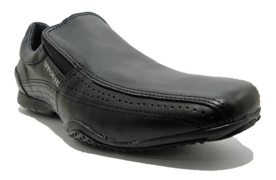 Zapato Stone De Cuero Color Negro 1284