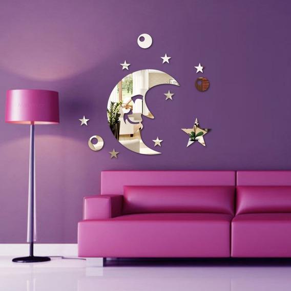 Espelho Decorativo - Acrílico Espelhado - Lua & Estrelas