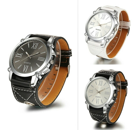 Relógio De Pulso Feminino Bracelete De Couro Números Romanos