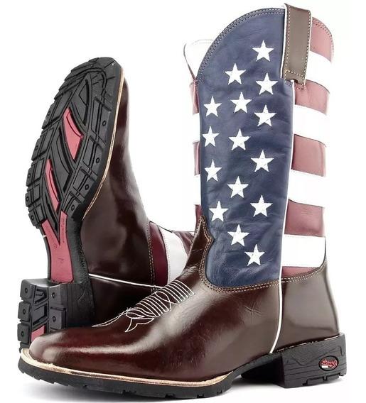 Bota Texana Estados Unidos Bandeira Bico Quadrado Atacado