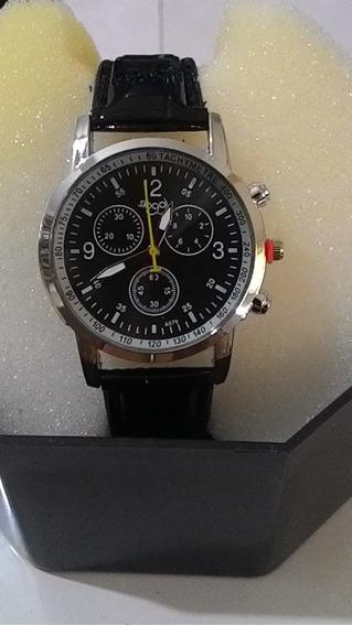 12 X - Relógio Imp. Pulseira Couro Preta Caixa Aço Novo
