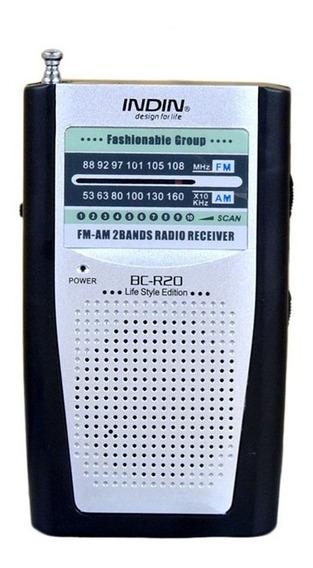 Rádio De Bolso Indin Bc-r20 Am/fm Prata Compacto Leve