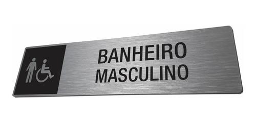 Placa Banheiro Masculino Com Acessibilidade Adaptado