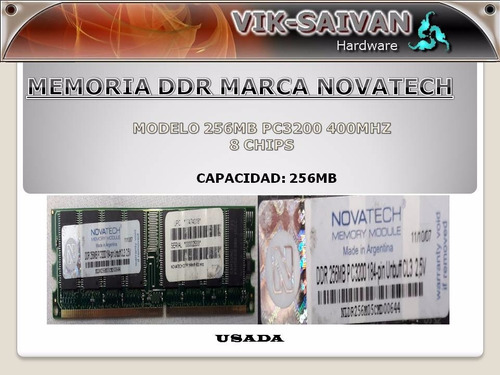Memoria Ddr Novatech 256mb Pc-3200 400mhz 8 Chips  31