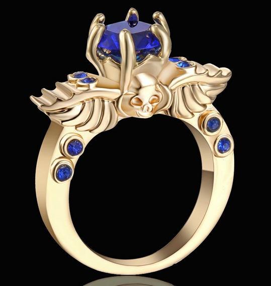Aro 18 Anel Imperial Safira 3 Banhos Ouro 18k 566 I