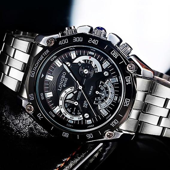 Reloj Hombre Longbo Lujo Edifice De Acero - Nuevo Importado