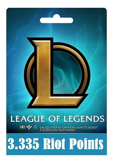 Cartão League Of Legends Lol - 3335 Riot Points Rp Br Brasil