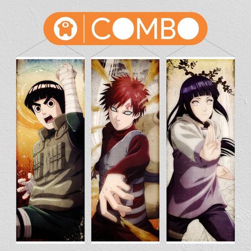 Imagen 1 de 6 de Lona De Naruto - Gaara Hinata Rock Lee Combo X 3  - Animeras