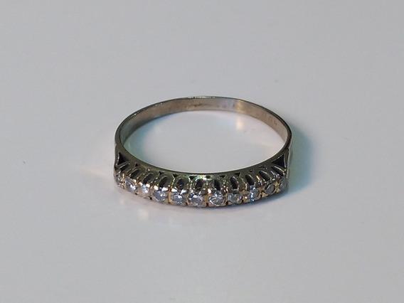 Meia Aliança, 11 Diamantes De 1,5pts Ouro Branco 18k, Aro 18