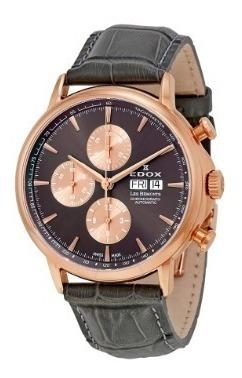 Relógio Edox Les Bemonts Cinza/rosé Automático Cronógrafo