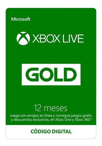 Imagen 1 de 1 de Tarjeta Xbox Live Gold 12 Meses!!! Zugarsgame