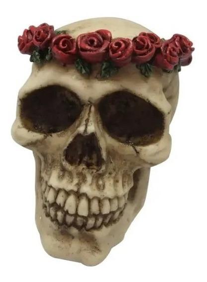 Caveira Decorativa Resina Coroa D Rosas Vermelhas 7 Cm Skull