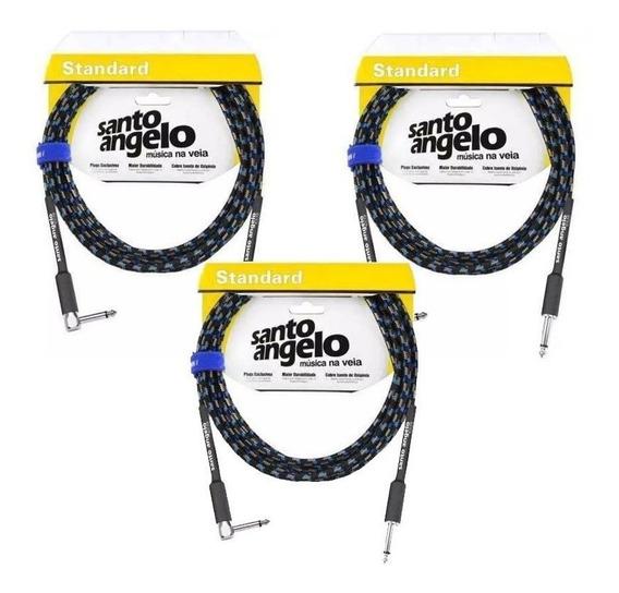 Kit 3 Cabo Guitarra Violão Santo Ângelo Textil 3m Plug L90º