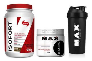 Whey Protein Isofort 900g + Creatina 300g Max Titanium