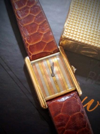 Cartier Vermeil Tank Plaquet Ouro 18k Rarissimo Trinity Dial