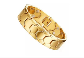 Pulseira Bracelet Magnetica Masculina Banhada Ouro Ajustavel