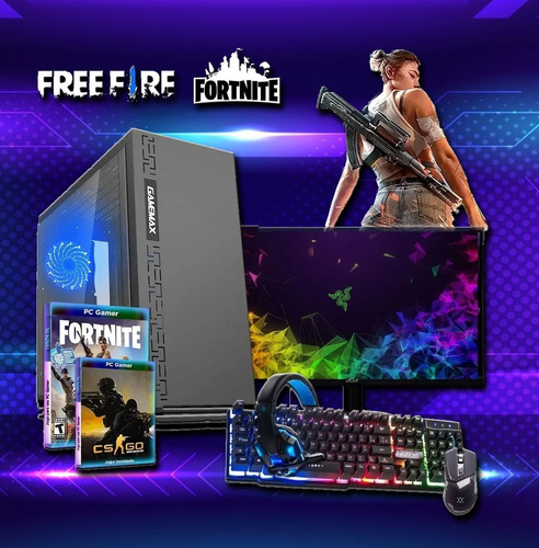 Pc Gamer Barato Completo Com Monitor + Kit Gamer Nfe + Bônus