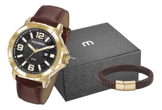 Kit Relógio Masculino Mondaine Mais Pulseira 99357gpmvdh2k1