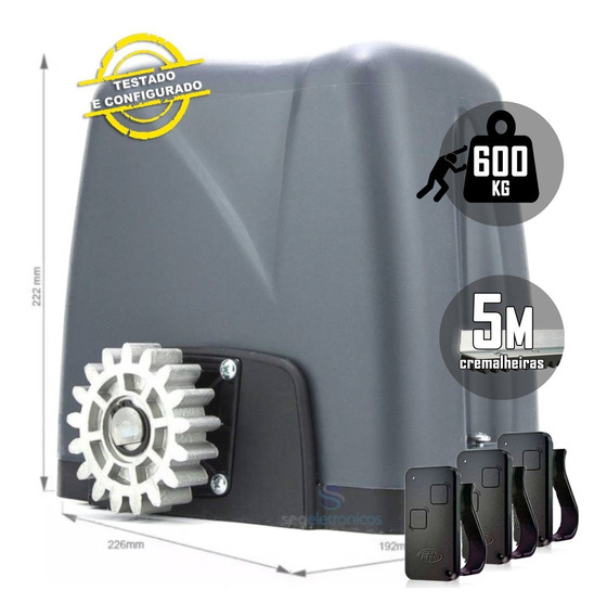 Kit Motor Deslizante Nano Turbo Rossi 5m Crem 3 Controles