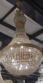 Lustre Grande Luxuoso Pingentes Cristal Design Em Bronze