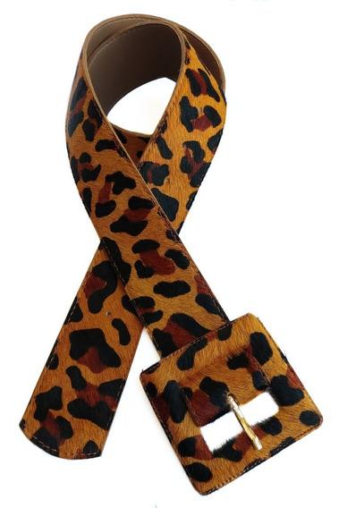 Cinto Feminino Couro Legítimo Animal Print Onça Com Pelo