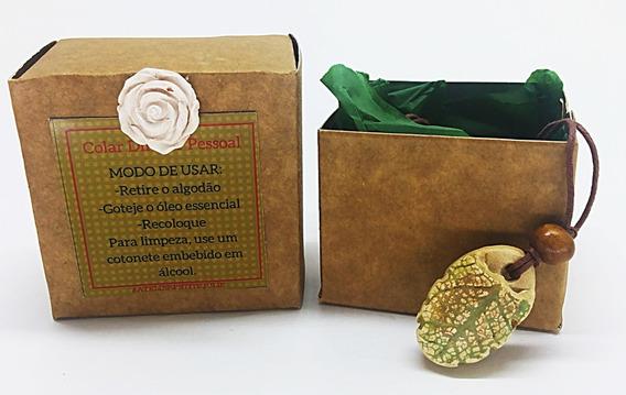 Kit 2 Colar Difusor Pessoal Folha Oval Cerâmica
