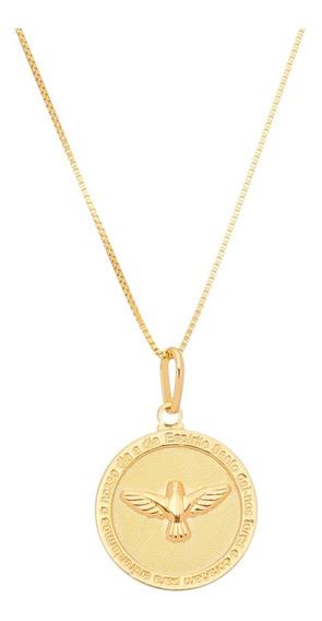 Colar Feminino 50cm Pingente Espirito Santo Folheado Ouro