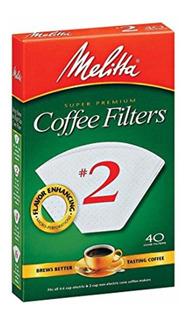Melitta 622704 2 Filtros De Café Cono Blanco 40 Count