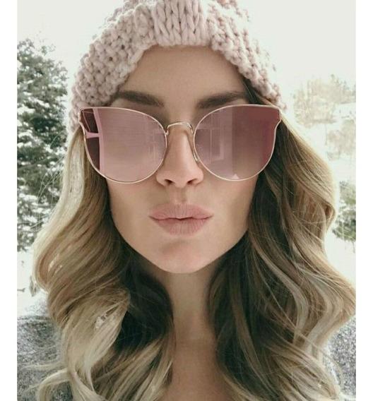 Óculos Espelhado Gold Rose Feminino Praia Executivo Estiloso