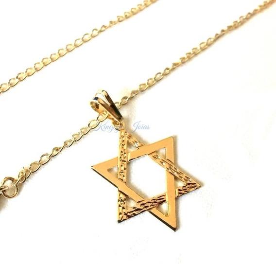 Pingente Estrela Davi Hexagrama E Colar Folheados Ouro 18k