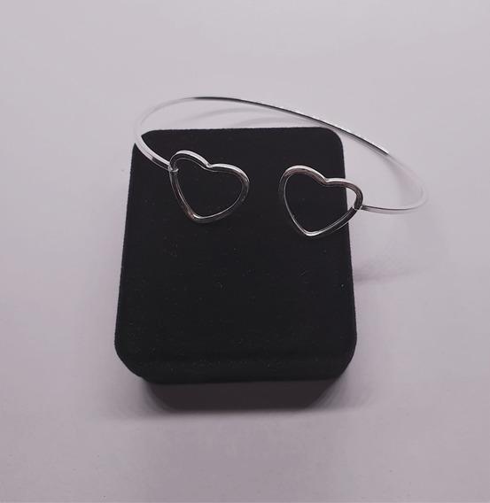 01 Bracelete De Prata Legitima Com Detalhe Coração Vazado