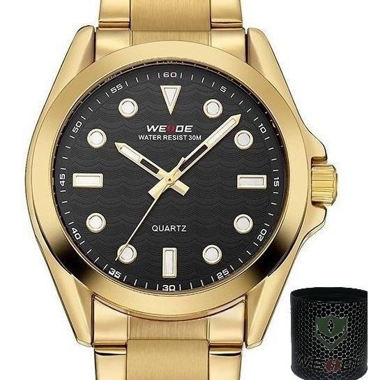 Relógio Masculino Weide Analógico Wh802 Dourado E Preto A Prova De Agua Feito Em Aço Antioxidante Com 1 Ano De Garantia
