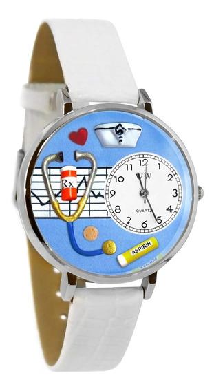 Enfermera Azul Reloj De Plata (grande)