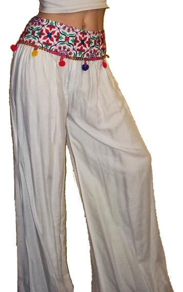 Pantalon Hindú Caderin Bordado Blanco Palazo Importado India