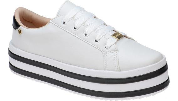 Tenis Feminino Plataforma Sola Alta Joging Branco Azul Preto